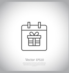 thin line icon gift box with ribbon inside vector image