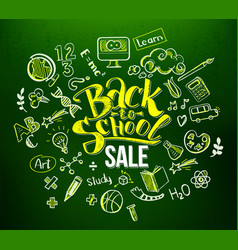 back to school sale in doodle frame vector image