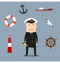 Captain profession and nautical icons vector image