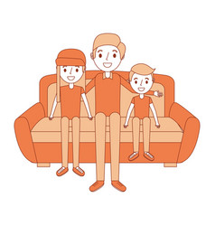 dad with her son and daughter sitting in the sofa vector image
