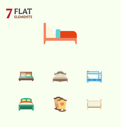 flat bed set of bedroom crib cot and other vector image