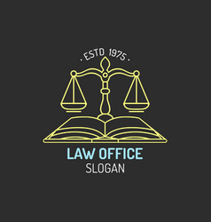 law office logo with scales of justice vector image