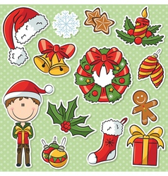 Santa Boy With Christmas Gifts And Decorations vector image