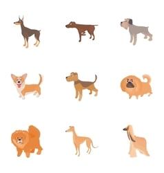 Faithful friend dog icons set cartoon style vector image