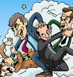 Four men brawl vector