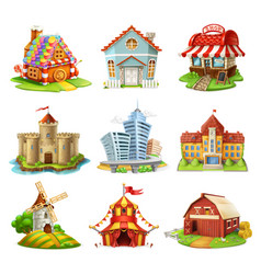 houses and castles buildings 3d icons set vector image vector image