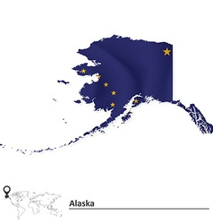 Map of alaska with flag vector