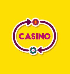 paper sticker on stylish background poker casino vector image