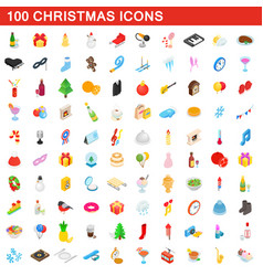 100 christmas icons set isometric 3d style vector