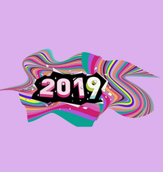 2021 new year text with wavy colorful line vector