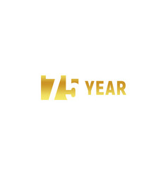 75 year happy birthday gold logo on white vector image