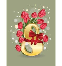 8 March Greetings Card with Tulips vector image