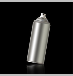 A metal aerosol can at an angle on a black vector
