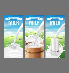 a set of labels for milk vector image
