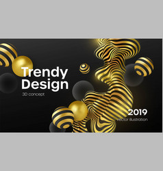 abstract background with 3d dynamic shapes black vector image
