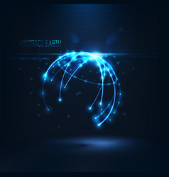Abstract shape of glowing circles and particles vector