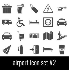 airport icon set 2 gray icons on white vector image