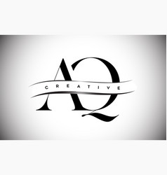 Aq letter logo with serif letter and creative cut vector