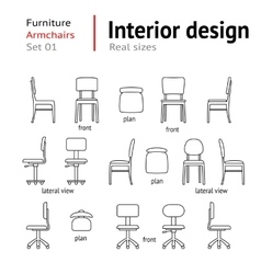 Architectural thin line icons set Furniture vector