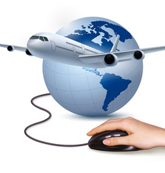 Background with airplane and hand with mouse vector image