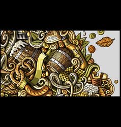 Beer fest hand drawn doodle banner cartoon vector