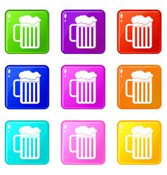 Beer mug icons 9 set vector