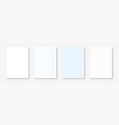 blank notebook sheets lined squared and dotted vector image