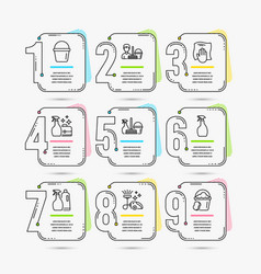 Bucket vacuum cleaner and cleaning service icons vector