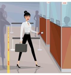 Business woman pass the passport control vector image