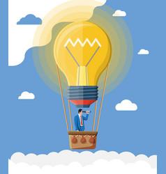 Businessman flying in big idea bulb formed balloon vector
