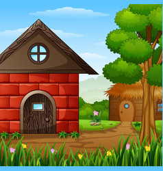 Cartoon barnhouse with a cabin in the farmland vector