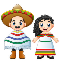 Cartoon mexicans couple wearing traditional costum vector