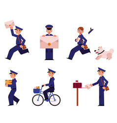 cartoon postman mailman character set vector image