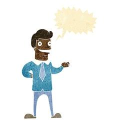 Cartoon salesman with speech bubble vector