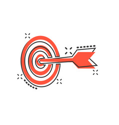 cartoon target aim icon in comic style darts game vector image