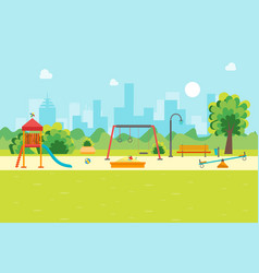 Cartoon urban park kids playground vector