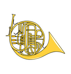 Color hand-drawn musical instrument - french horn vector