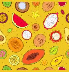 colored sketch exotic products seamless pattern vector image
