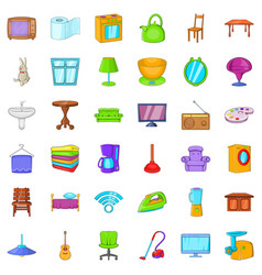 comfort room icons set cartoon style vector image
