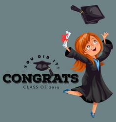 Congrats graduation class of 2018 flat colorful vector