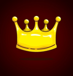Crown cartoon on dark red background vector image