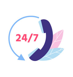 Customer support 24 7 technical support phone vector