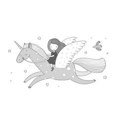 cute cartoon girl flies on a pegasus princess vector image