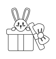 Cute rabbit hiding gift box surprise thin line vector