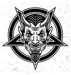 Devil head and pentagram star vector