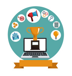 digital marketing laptop trophy media vector image