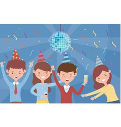 Disco ball confetti people dancing celebration vector