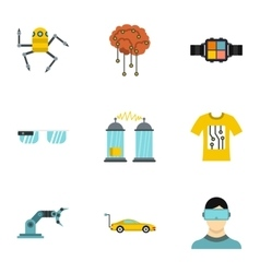 Electronic devices of future icons set flat style vector