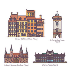 Famous poland architecture landmarks in line set vector