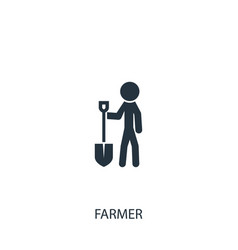 Farmer with shovel icon simple gardening element vector